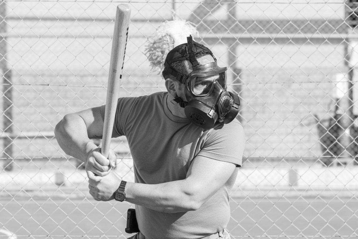 """This [gas mask baseball] was somebody's idea and it took off because everybody likes playing baseball,"" said Ouellette, ""It's just a fun game!"" usarcent.army.mil/News/Article/2…"