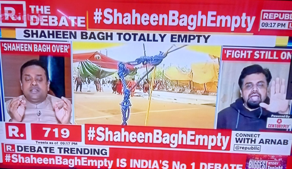 #ShaheenBaghEmpty It is almost empty now : Mostly security personnel for few peacefuls! *No free biriyani *No press *No money * No Nanis & Dadis #Result : Death : 47 It was not a agitation but an experiment to destroy India ! #delhivoilencepic.twitter.com/NQzuXTUNBo