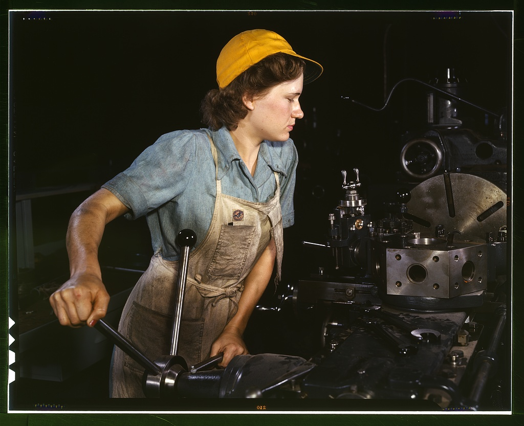 @EricAlanWalter For Rosie. (Rare color photo of WWII lathe operator.)