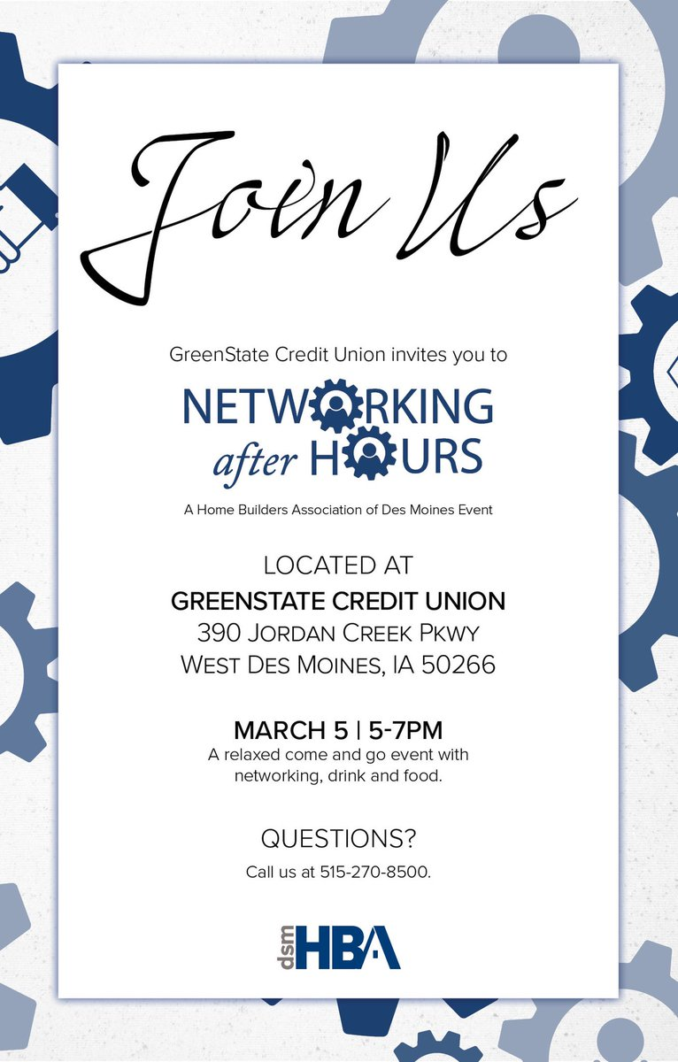 Join us tonight for networking after hours from 5 PM - 7 PM at @GreenStateCU in West Des Moines! #dsmhba #catchdesmoines #homebuildersassociation pic.twitter.com/fpUdSh5rOc