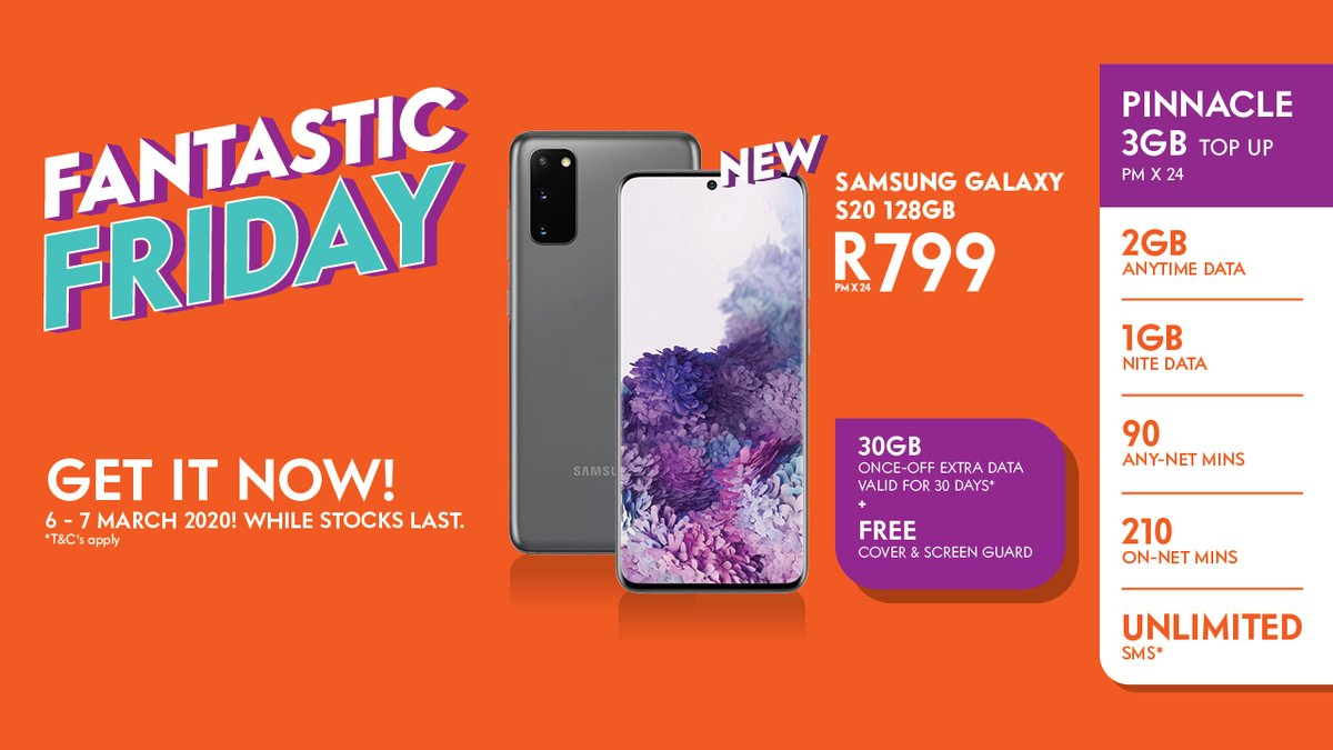 Cellc On Twitter Connectyourway With This Amazing Fantasticfriday Deal With Cell C Get The Samsung Galaxy S20 128gb On Pinnacle 3gb Top Up For R799pm Plus 30gb Once Off Extra Data Valid 6