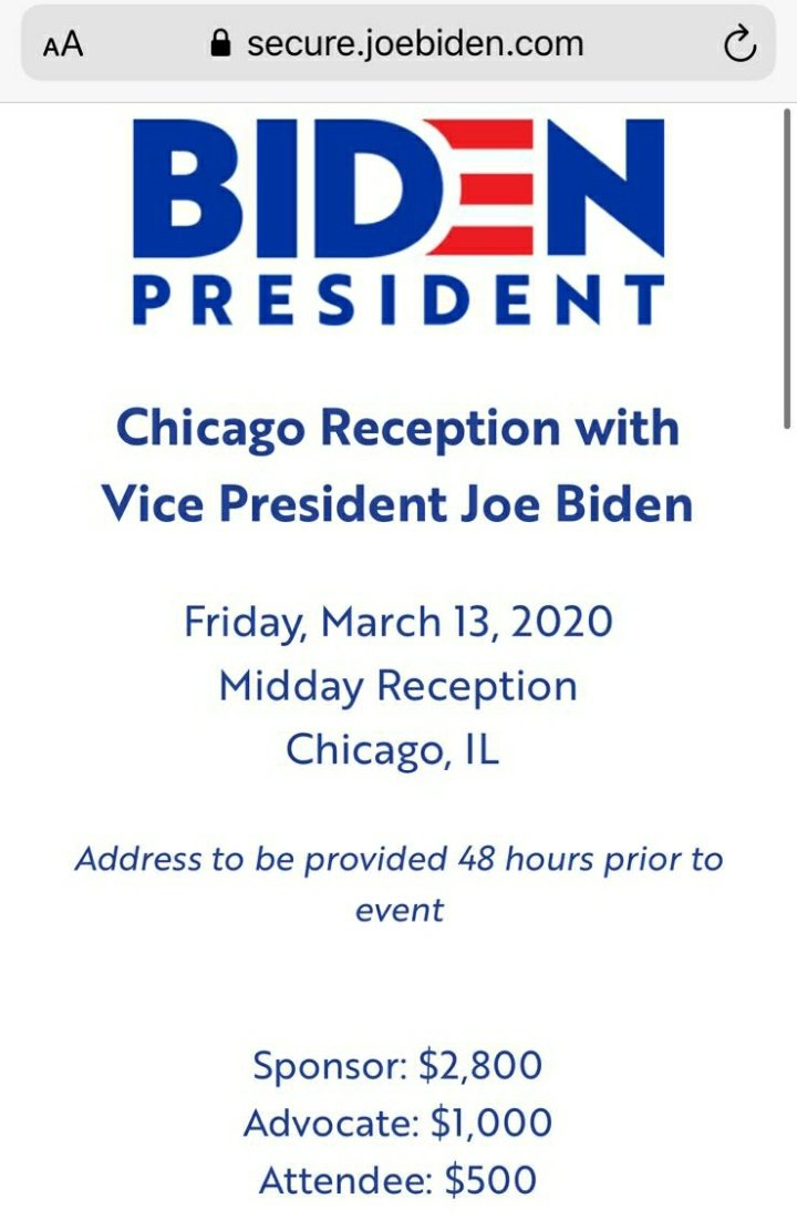 @sarahforbernie @nypost Here's #SleazyJoe representing the average American by hosting a reception where the MINIMUM attendee fee is $500. Fuck this guy