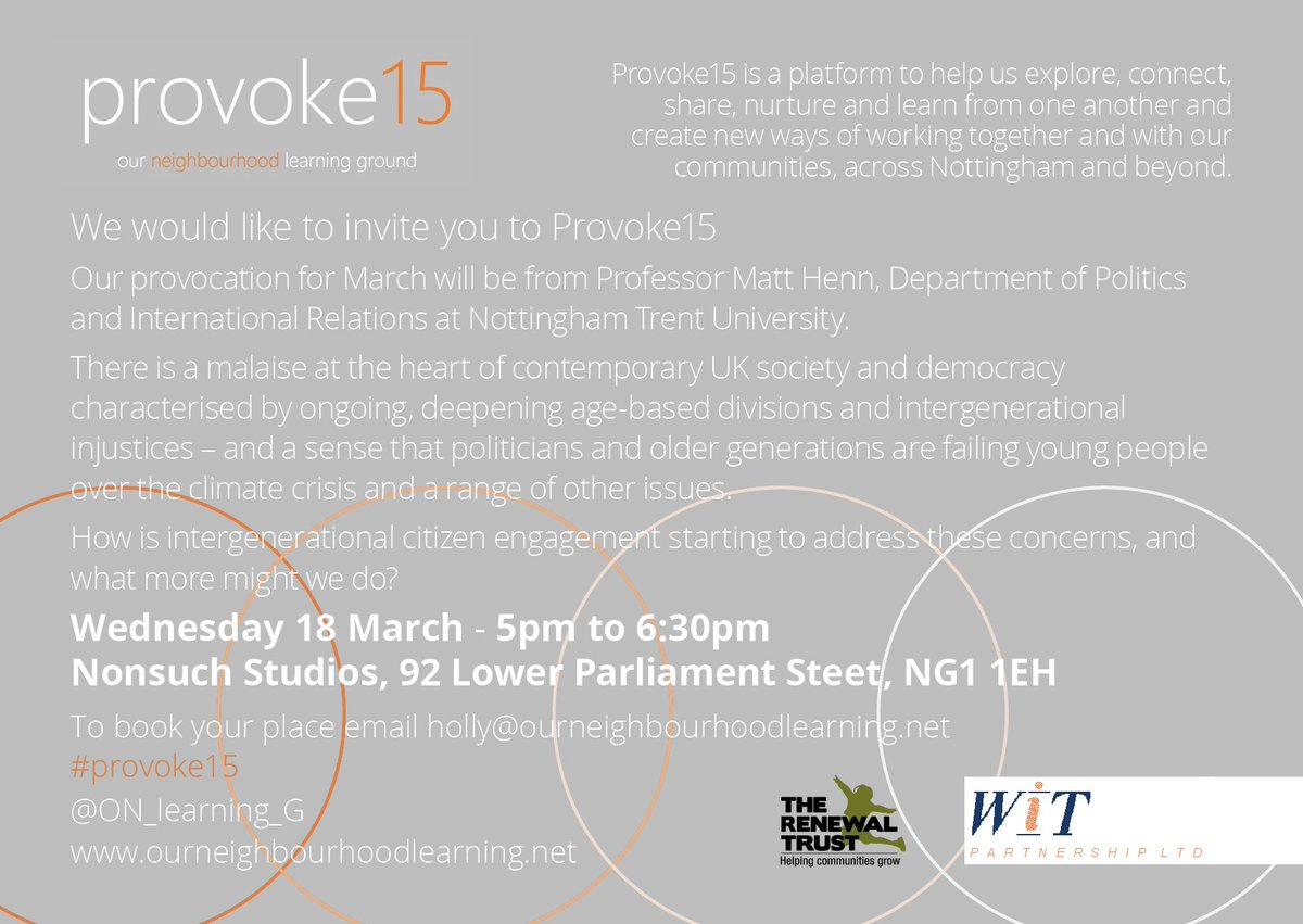 Are the older generation failing our younger people - and what can we do about it? #provoke15 on March 18th with @MattHenn2011 hosted by @wearenonsuch  - all welcome https://t.co/5jHEgzmySp