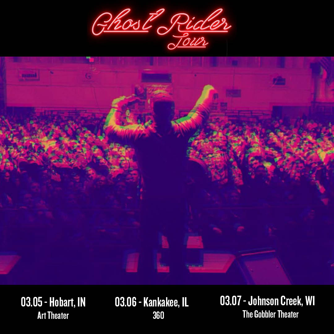 Back on the road again this weekend for more #GhostRiderTour. Can't wait to party with friends in IN, IL and WI!