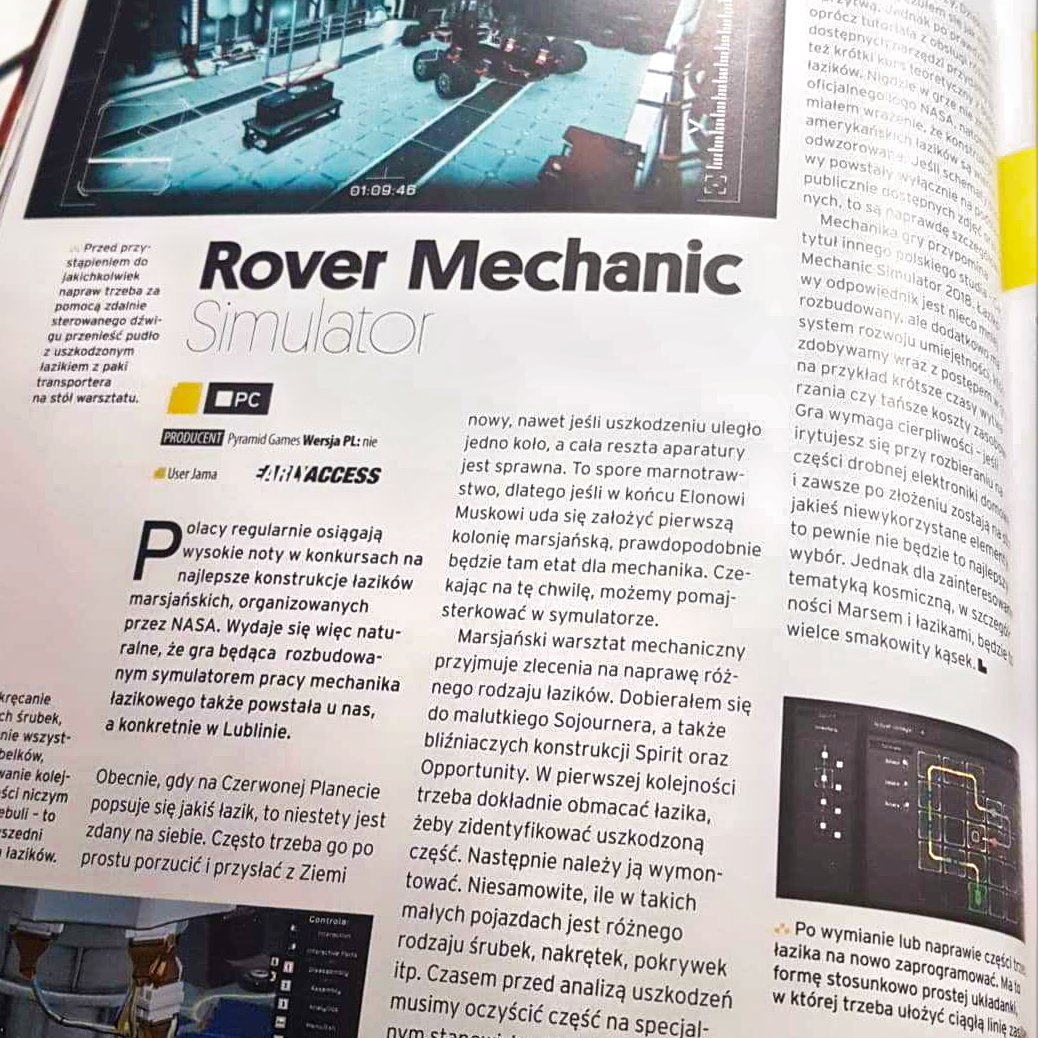an article about #RoverMechanicSimulator has been published in #PixelMagazine! #Poland #gamedev #IndieGameDev #gaming #gry #czaswolny #thursdayvibespic.twitter.com/QSd8ruelni