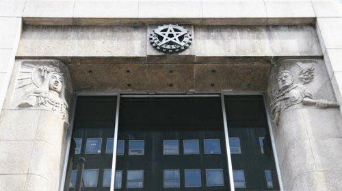 電通ビルの正体 五芒星のエントランスに悪魔の彫刻、悪趣味な目玉の床、金ピカの怪しげな部屋 https://t.co/mA84SIUpiM