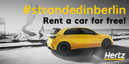 ITB cancelled? We got you sorted! We are offering 10 rental car vouchers for compact cars for 2 days per station to first 10 participant that we will approach first with the note #StrandedInBerlin at the Hertz locations mentioned here: T&C: https://t.co/DWKvinayHe @StrandedInBER https://t.co/lfDtmCuLuP