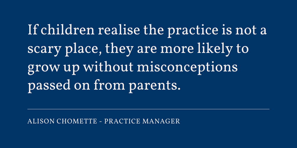 """If children realise the practice is not a scary place, they are more likely to grow up without #misconceptions passed on from parents."" - Alison Chomette, Practice Manager at Chipping Manor (Wotton-Under-Edge) Dental Practice: https://t.co/phEIWe5N1H https://t.co/ypNYsOkgym"