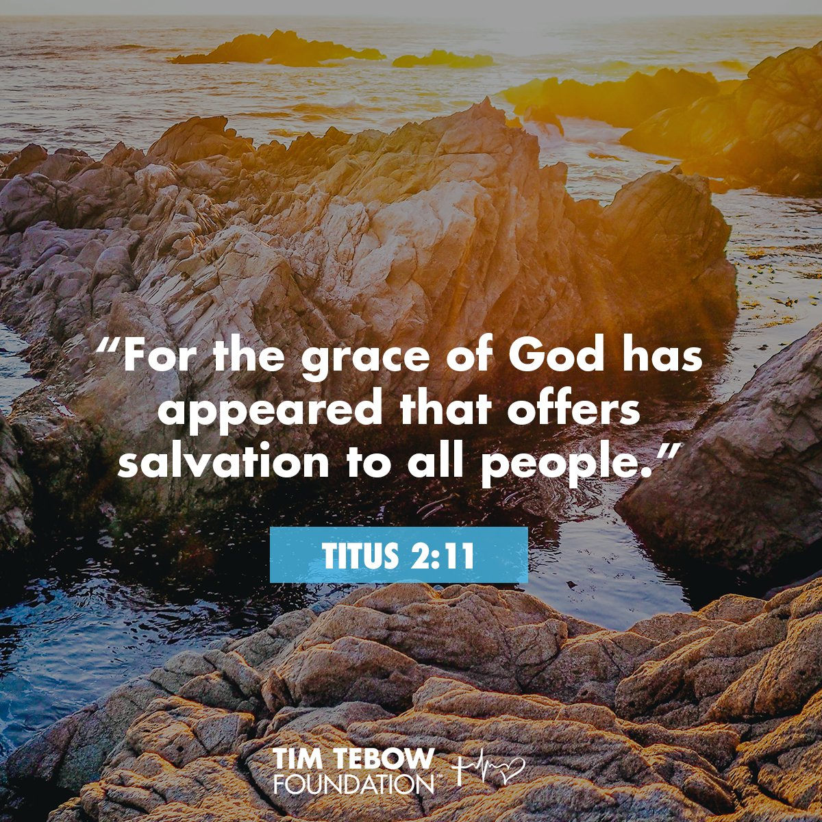 """""""For the grace of God has appeared that offers salvation to all people.""""—Titus 2:11 #verse #scripture #TimTebowFoundation pic.twitter.com/BK1f82UPR9"""