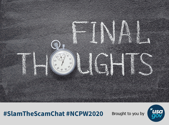 A9: Don't be fooled by potentially misleading offers and notices from private companies! Check our website for a list of some solicitations we've received complaints about. https://t.co/TKZW7BxMzH #SlamTheScamChat #NCPW2020