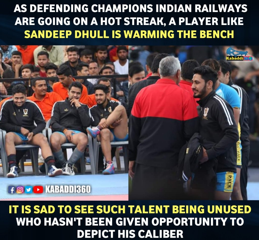 How could a high-profile player like Sandeep Dhull pave his way towards playing for India if he doesn't get enough opportunities to do so? Comment your views regarding this:  #SandeepDhull #IndianRailwaysKabaddiTeam #67thSeniorNationalKabaddiChampionship #Kabaddi360