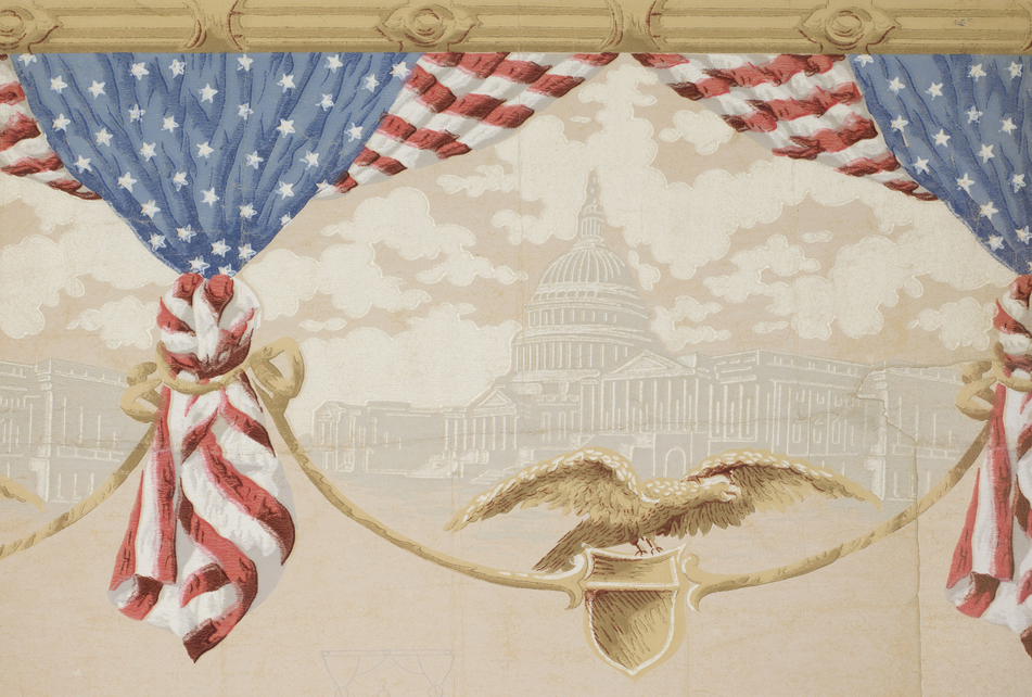 Produced around the turn of the 20th century, this frieze sports stars and stripes-patterned bunting printed in bold red, white, and blue, with a view of the Federal Capital building printed in more subtle shades of gray.   🦅 https://t.co/r3HnE6GdHd https://t.co/VryjqfWCA3