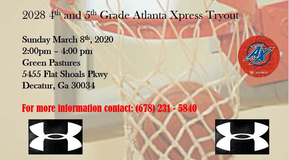 4th and 5th Grade Atl Xpress Tryouts ............ https://t.co/n6yLMvUKnY