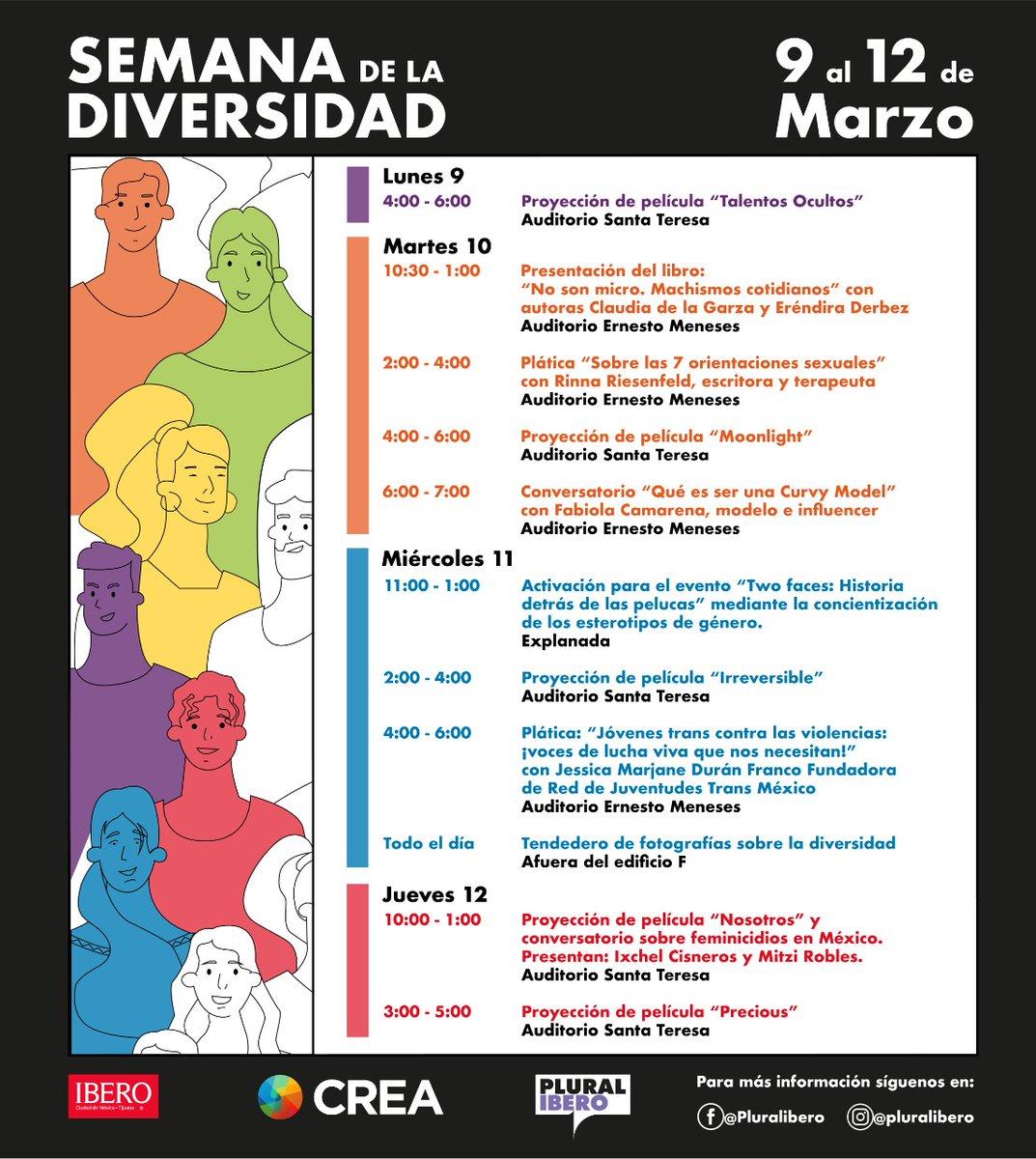 #Entérate Del 9 al 12 de marzo se realizará en la #Ibero la #SemanaDeLaDiversidad; se llevarán a cabo conversatorios, proyección de películas, conferencias, pláticas, entre otros. Consulta aquí el programa y acompáñanos ⏬ https://t.co/QmyP4EzqNl