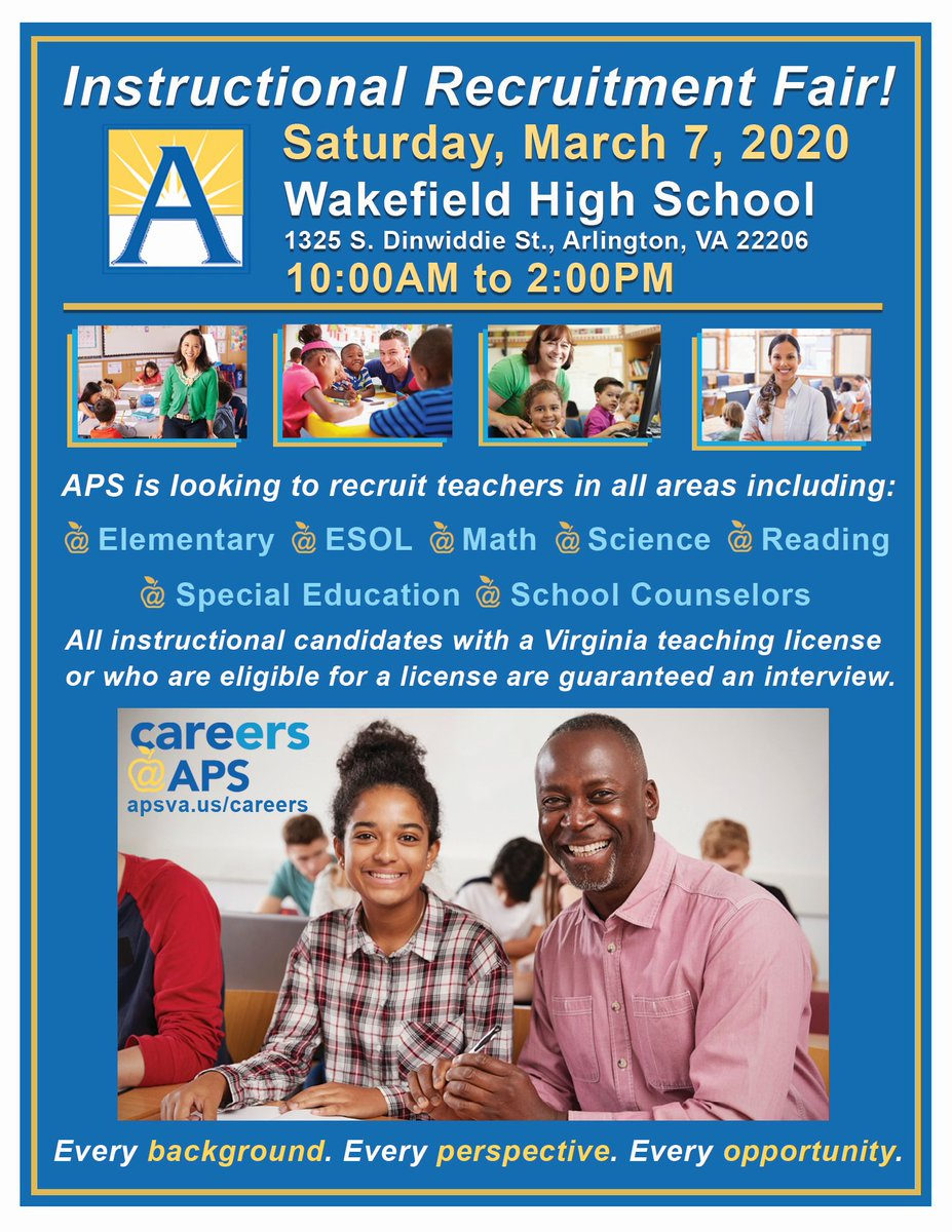 Only 2 Days left until the APS Instructional Recruitment Job Fair! We'll see you this Saturday, March 7th <a target='_blank' href='http://twitter.com/APSVirginia'>@APSVirginia</a>. <a target='_blank' href='https://t.co/r56pdzgzJn'>https://t.co/r56pdzgzJn</a>