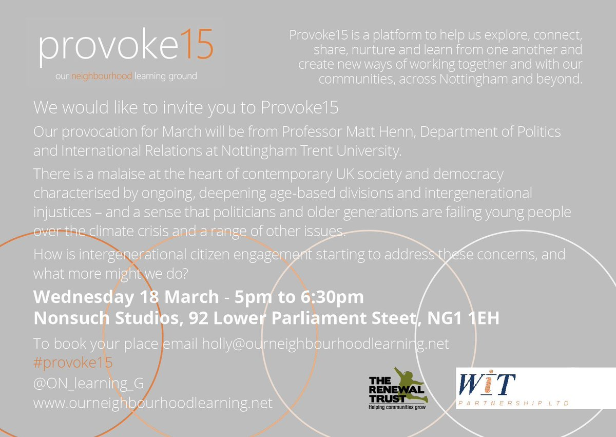Are the older generation failing our younger people - and what can we do about it? #provoke15 on March 18th with @MattHenn2011 hosted by @wearenonsuch  - all welcome, please share https://t.co/eJJL7fdeAT