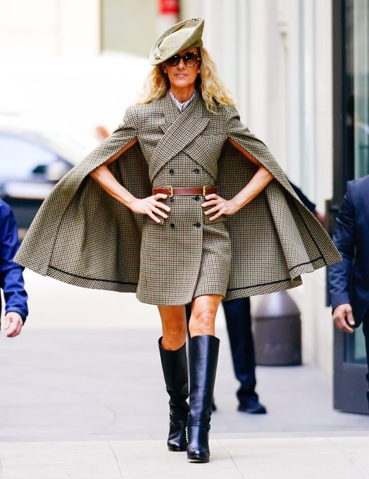 's Media: Strike a pose: @CelineDion wearing #MichaelKorsCollection today in New York City. #CelineDion #Fame