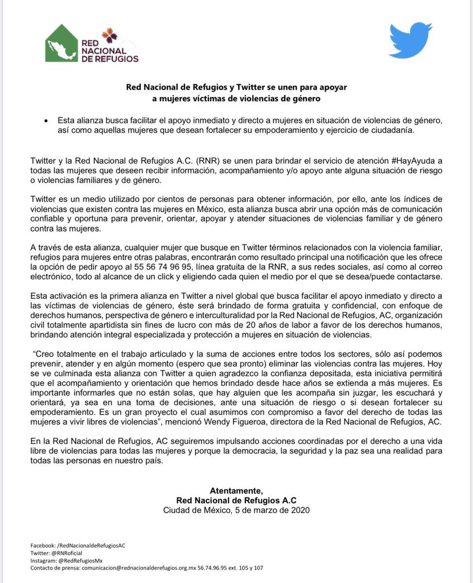 📢¡@TwitterMexico y la @RNRoficial se unen en pro a los #DDHH de las mujeres!  Después de meses de colaboración, hoy cualquier mujer que busque en #Twitter términos relacionados con las violencias de género encontrarán  la opción de pedir apoyo y acompañamiento.  #HayAyuda