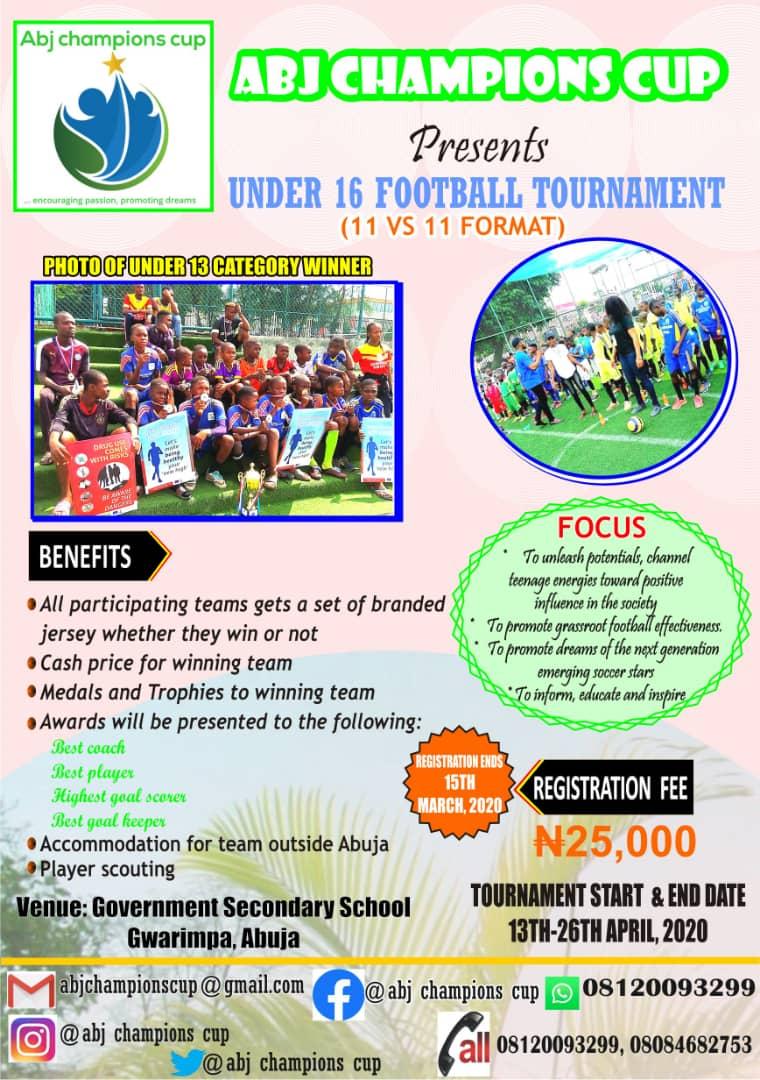 Registration for the U-16 category maiden edition of the @AbjCup.  #footballacademy #football #footballteams #footballacademytournament #grassrootsfootball #soccertournaments #tournament #sportstournament #fc #clubs #academy #Abuja #Footballteamsinnigeria #FIFA #socceracademypic.twitter.com/uKo18SP0f1