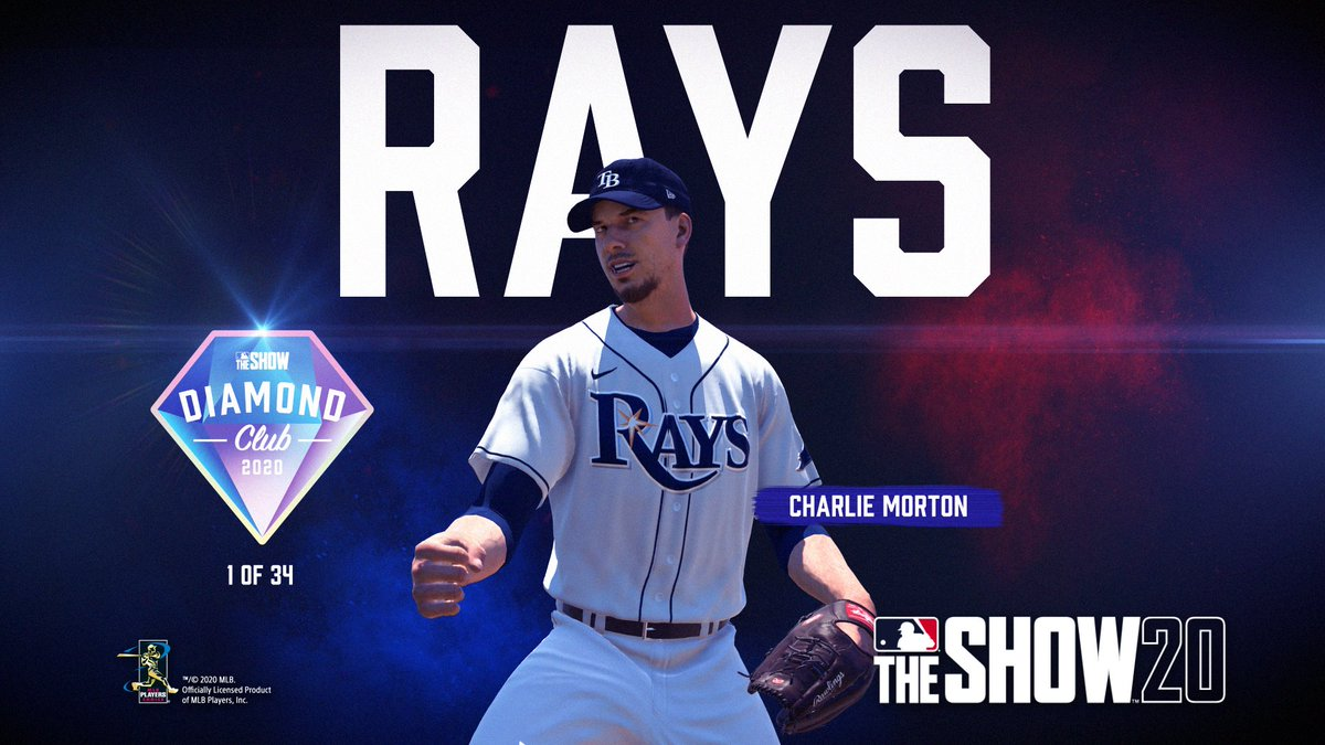 mlb the show on twitter congratulations to raysbaseball ace charlie morton for making the mlb the show 20 diamond club pre order the show 20 today https t co kacn6a7xzo diamondclub raysbaseball raysup mlbtheshow mlbtheshow20 theshow20 mlb the show 20 diamond club
