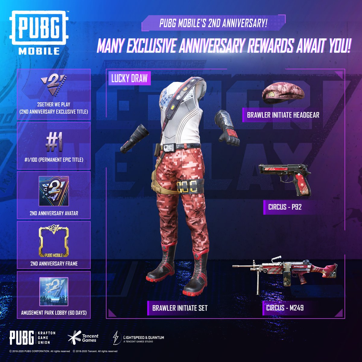 Pubg Mobile On Twitter Curious What You Can Obtain In The 2nd Anniversary Event Get The Brawler Initiate Set And Circus Weapon Skins Starting March 12th 2getherweplay Https T Co 5vezsphxbh