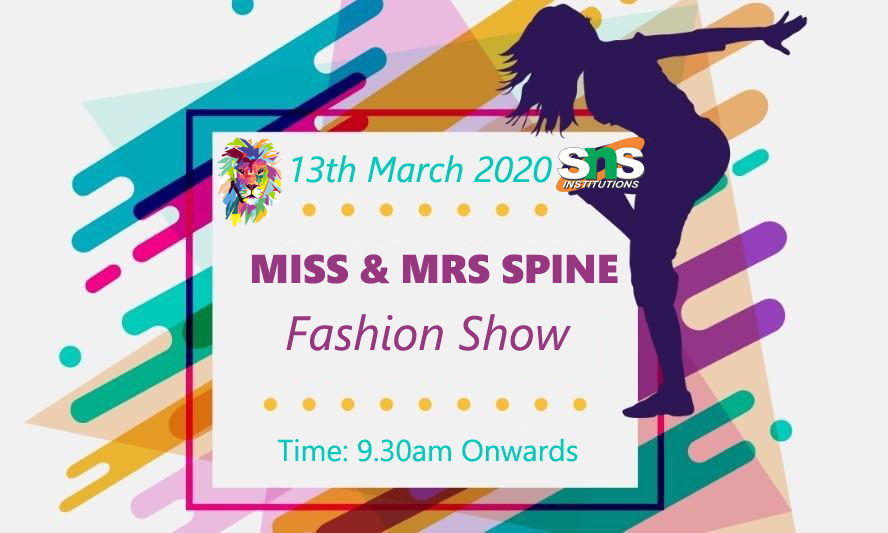Showcase the power of being a Women! The coolest women's day show in coimbatore on 13th March, 2020.  MISS & MRS SPINE EVENT Date & Venue: 13 March 2020, SNS Academy Registration Fee: Rs. 150/- Contact: 94863 22337  #missandmrsspine #fashionshow #coimbatoreevents #spinepic.twitter.com/MoB65TQ9MD