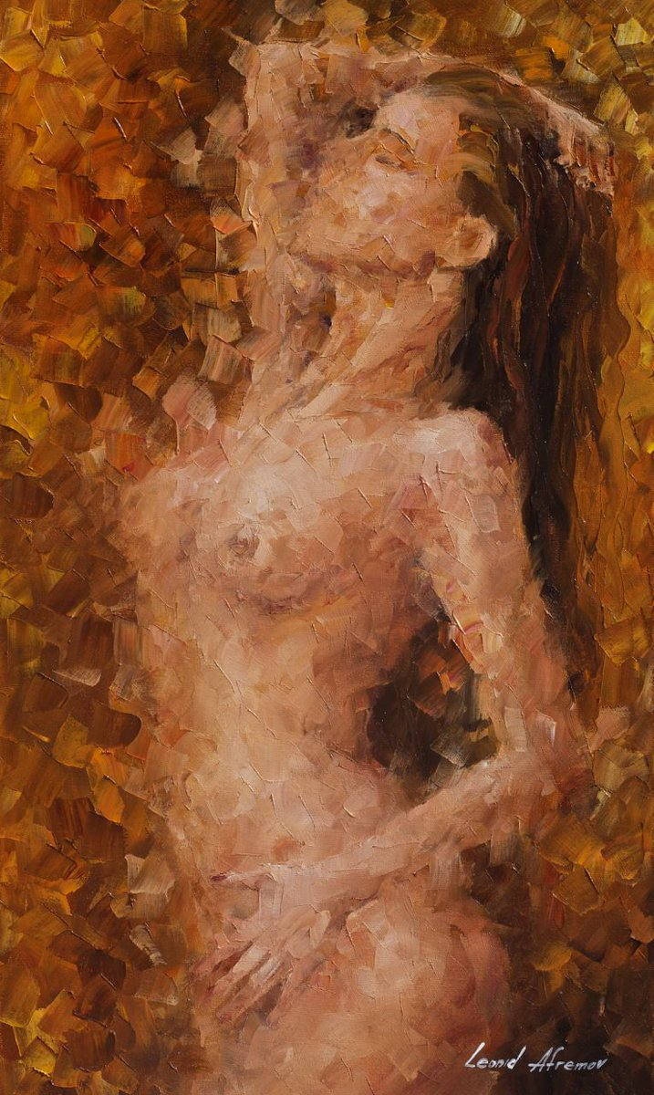Nude oil painting naked woman painting back view