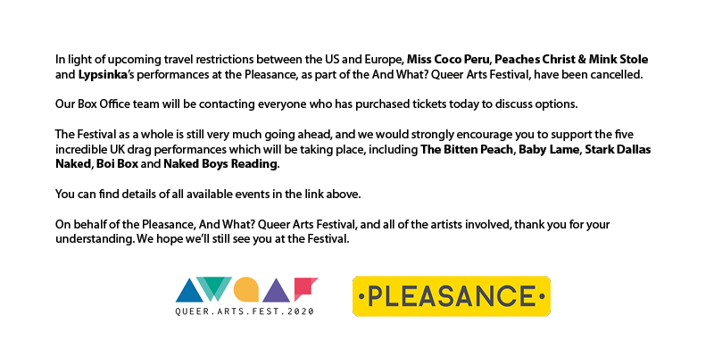 A statement about the And What? Queer Arts Festival 2020. bit.ly/2QdtE5U