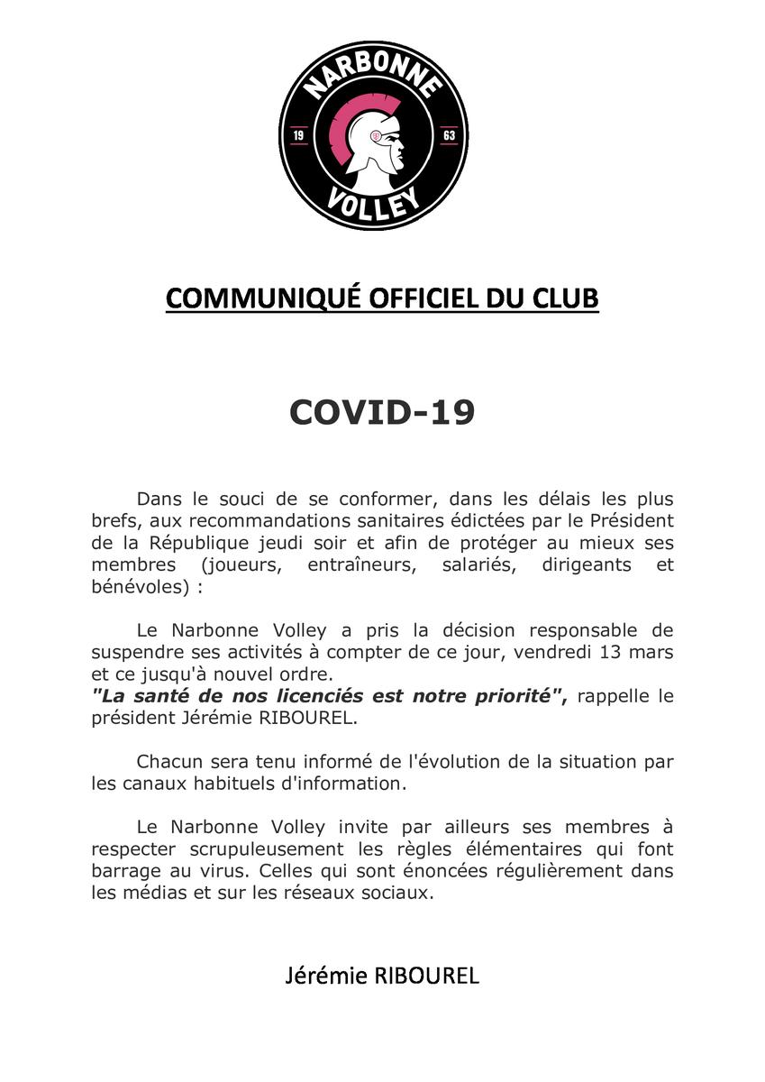 #CORONAVIRUSENFRANCE  : communiqué du @narbonnevolley @FFvolley @LNVofficiel...