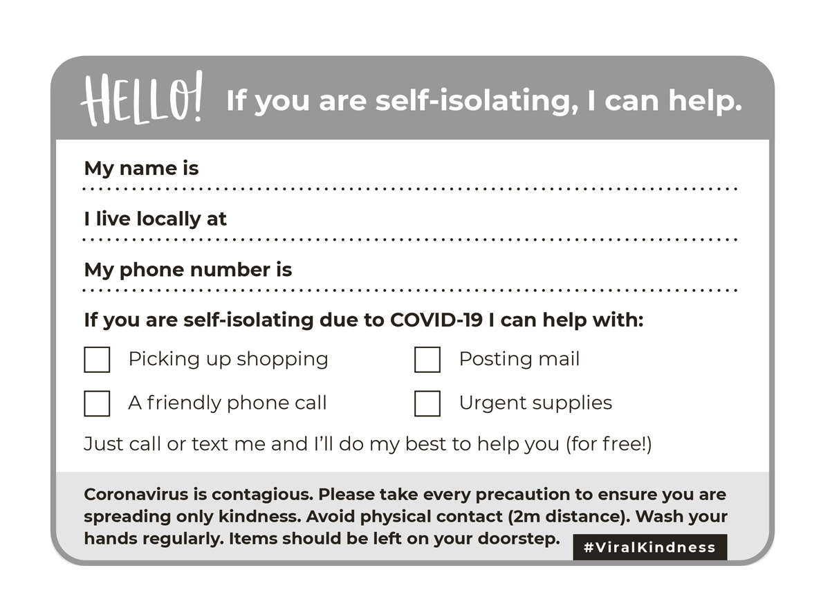 Becky my wonderful wife came up with a great idea last night, and it's already going viral. Wash your hands, print this, fill it out and pop it in your neighbour's letterbox. Simples. #viralkindness #COVID_19uk #coronavirusuk https://t.co/wnxVhvk742 https://t.co/tnVQMIiSMI