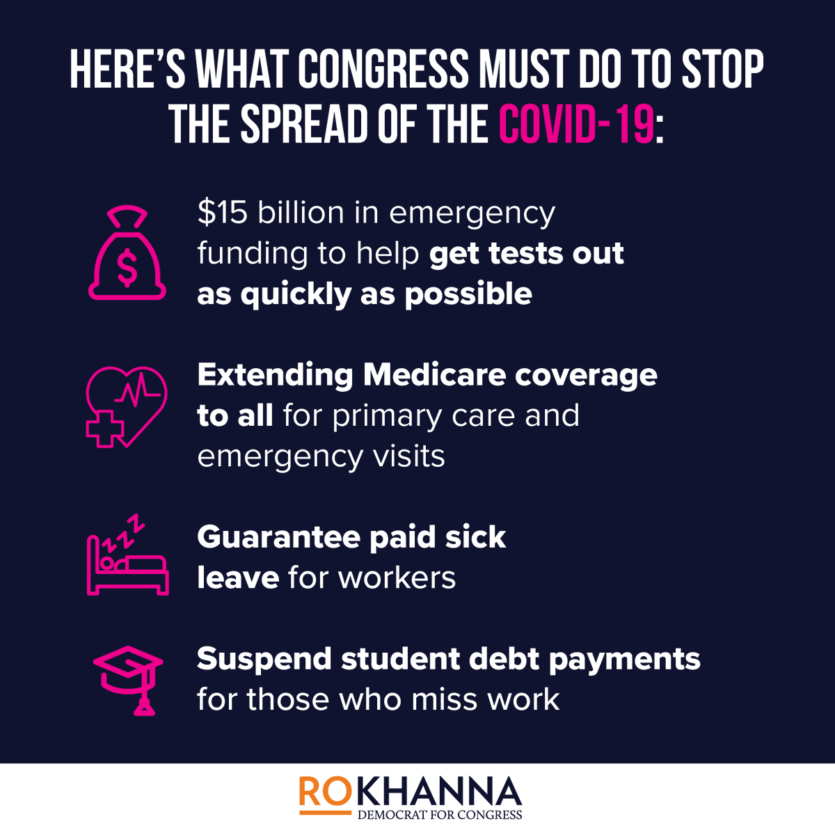 Congress must take immediate action to stop the spread of COVID-19.