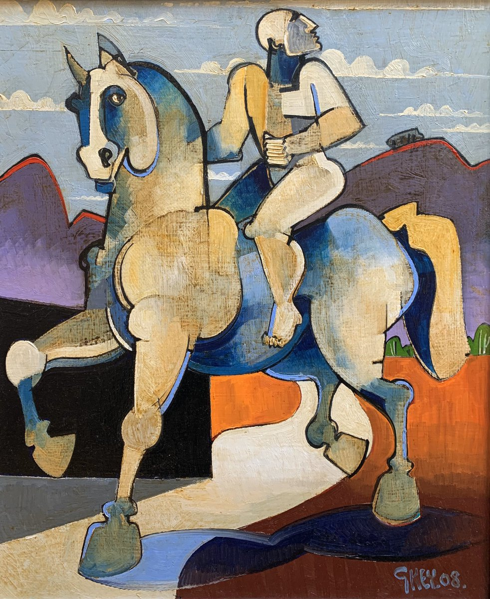 "NEW IN THE GALLERY! Geoffrey Key (b.1941) 'Rider with Hills' 2008 24"" x 20"" Oil on Canvas #geoffreykey #horseandrider #horse #forsale #collectart #lymm #cheshirepic.twitter.com/ySkxxMuXFh"