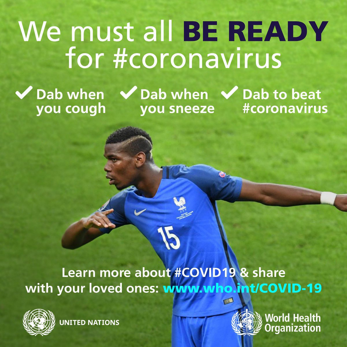 #Dab to beat #coronavirus. Follow @WHO advice to Be Ready for #COVID19 who.int/COVID-19