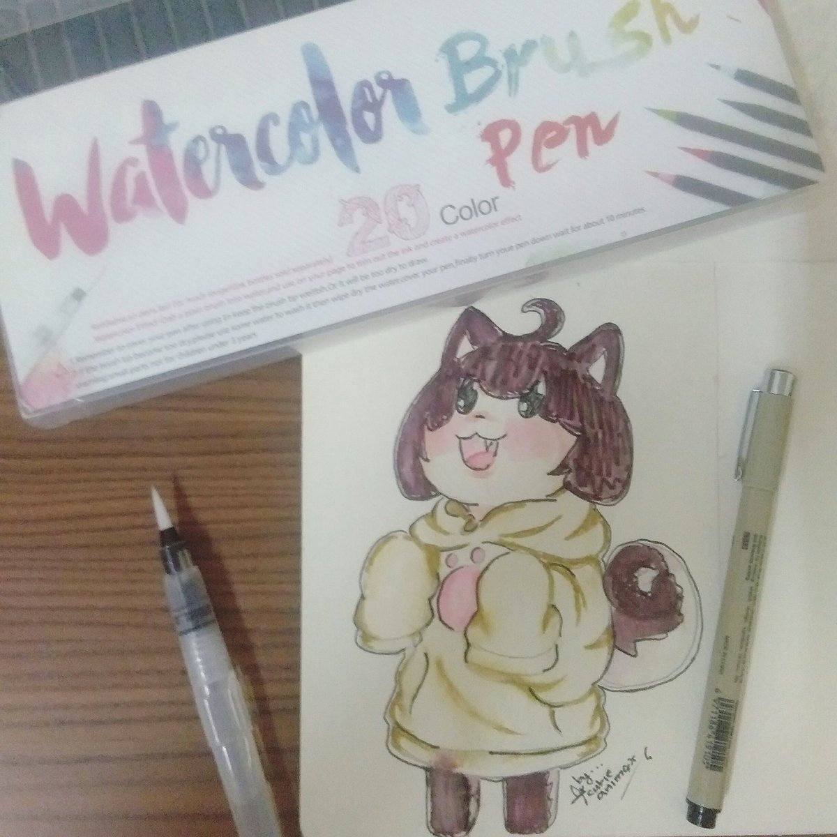 First time using the watercolor brush pen... A gift from my aunts ... ... #Watercolor #watercolourbrushpen #anime #animechibi #animedraw #animedrawing #animedoodle #draw #drawing #doodle #chibi #paint...pic.twitter.com/tYztdcxNhe