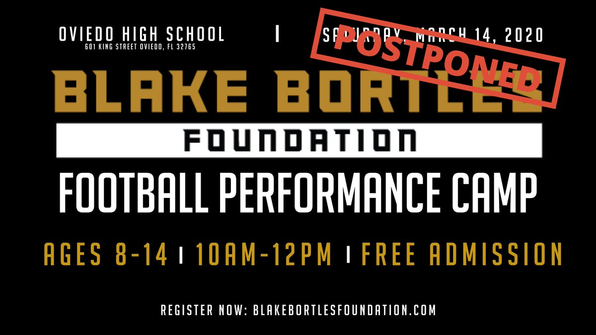 In an effort to look out for the safety of our local community, families & staff, the BB5 Foundation has decided to postpone the 5th Annual Football Performance Camp due to the ongoing spread of the coronavirus.   We will make an announcement once we have selected new dates! https://t.co/FK4zWqfKIV