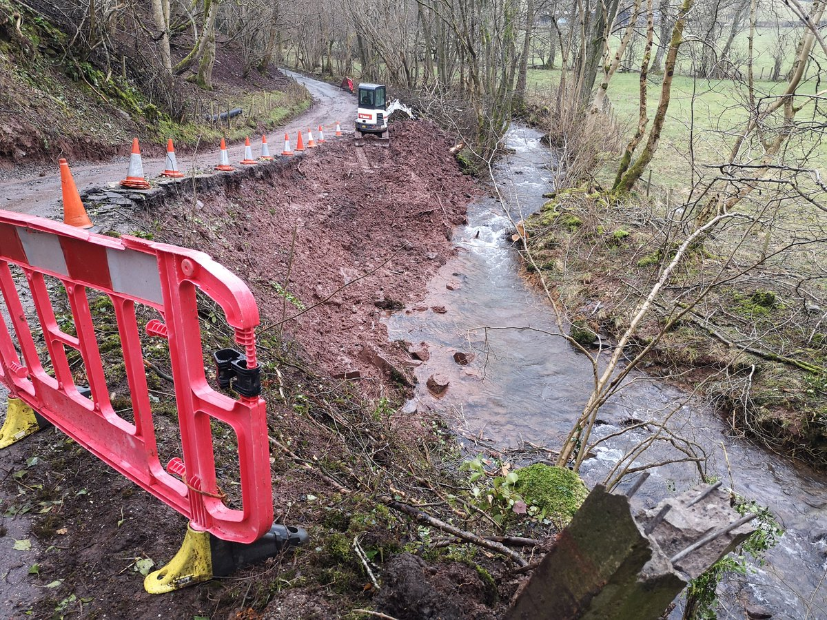 Works to carry out remedial works on a landslip in Capel y Ffin are currently being undertaken #StormDennis