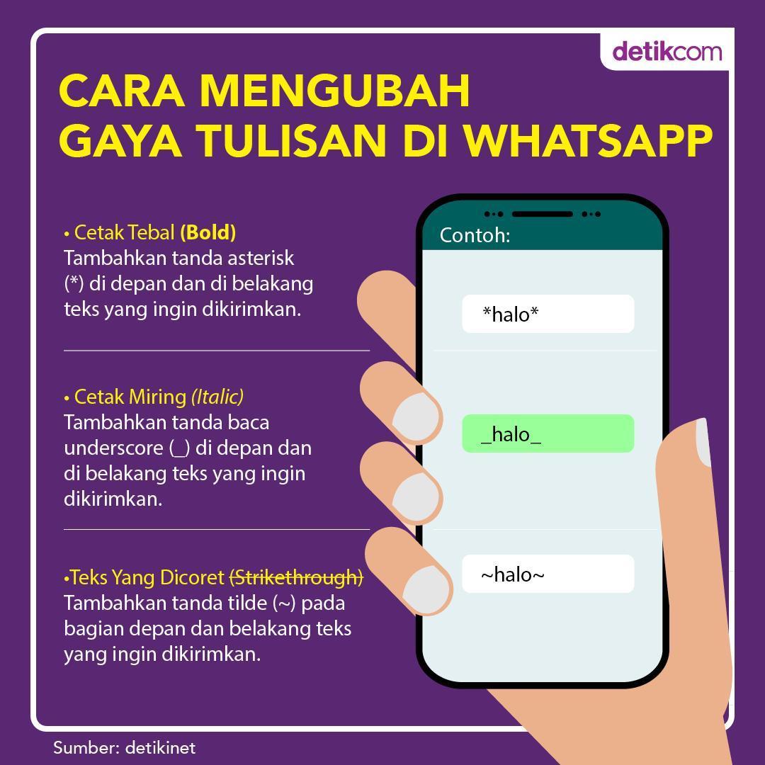 Cara Menulis Huruf Tebal dan Miring di WhatsApp