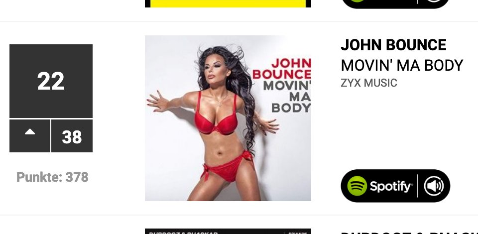 My new Single #JohnBounce #MovinMaBody on top 100 German #Dancecharts from #38 new today on #22 #zyxmusic #Zyxdance #Dance #pop #charts #music #NewMusicFridaypic.twitter.com/OcK8VKs9ea