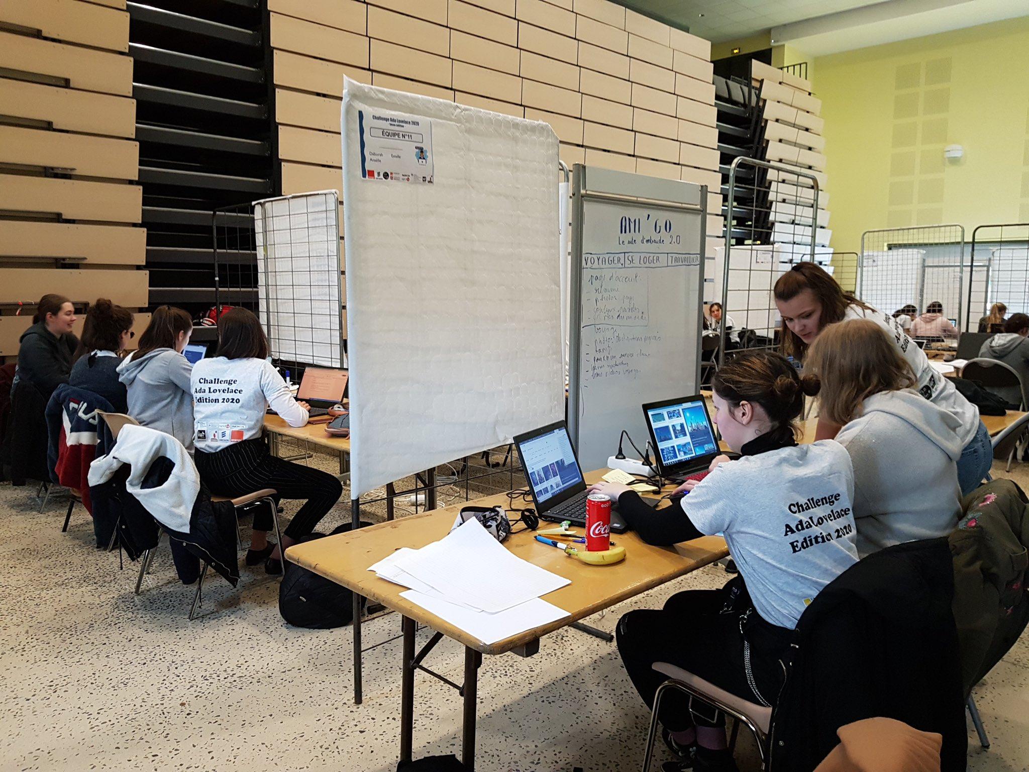 Quelques participantes concentrés lors du challenge