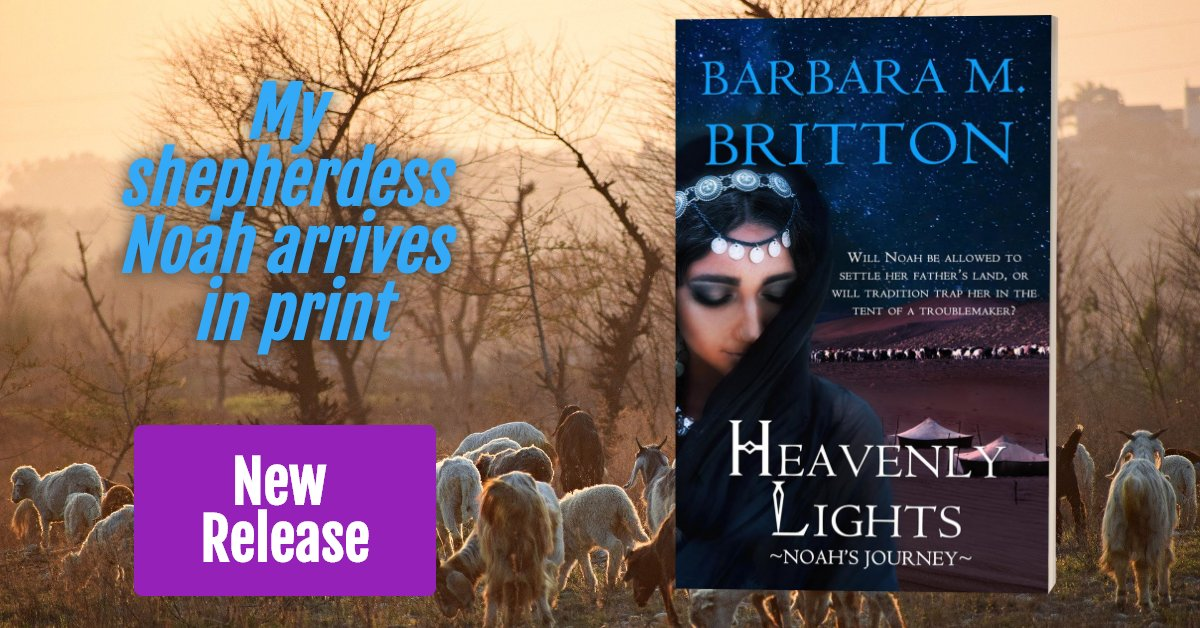 """Heavenly Lights"" is out in print today. The daughters of Zelophehad travel farther into the book of #Joshua with goats and sheep and camels! My #shepherdess is in the spotlight! #NewRelease #BiblicalFiction #HistoricalFiction #ACFW https://www.amazon.com/Heavenly-Lights-Journey-Tribes-Israel-ebook/dp/B07XLQT1GH/ref= …pic.twitter.com/Z8lSggVecw"