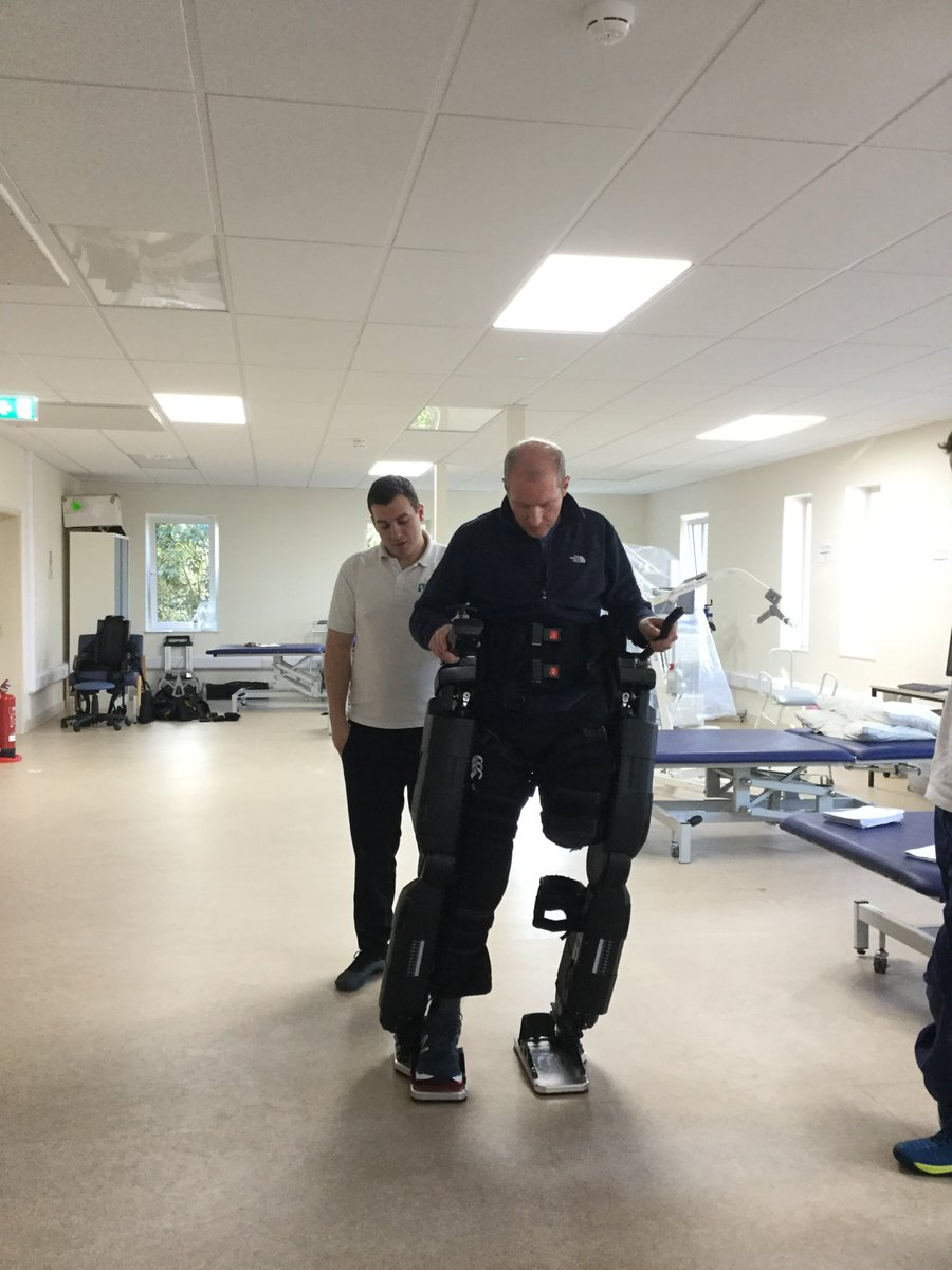 "This week we had Noel have an assessment with the @rexbionicsnews Exoskeleton, it was brought over by @PhysioFunction and overall it was a success with Noel enjoying himself saying ""Lovely to be standing up and no way do I feel uncomfortable"". #ukihma #healthcareuk https://t.co/Wxzpub5nnR"