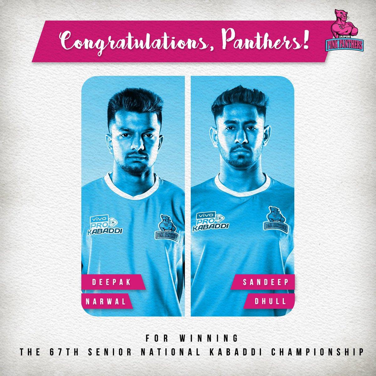 Deepak Narwal and Sandeep Dhull, members of the #PantherSquad representing Indian Railways have clinched the 67th Senior National Kabaddi Championships 💪🏻  Congratulations #Panthers 👏🏻  #SeniorNationals #Kabaddi #ProKabaddi #Jaipur #RoarForPanthers #JaiHanuman #PKL