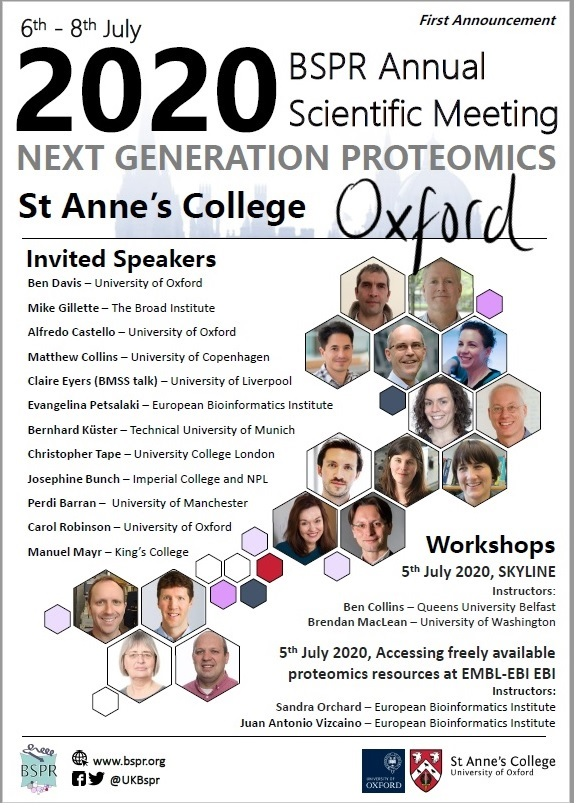 British Society for Proteome Research annual scientific meeting on 6th-8th July! #BSPR 2020