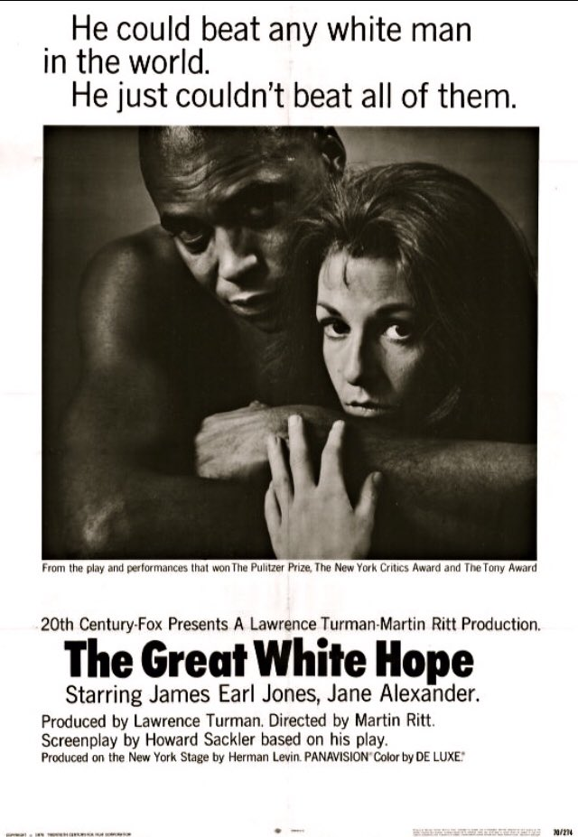 #SportsFlixFriday hits the out-of-ring life of #HeavyweightChamp #BoxingGreat #JackJohnson w/ #TheGreatWhiteHope. In 1969, the play won the #Pulitzer & @JamesEarlJones & @WildLifeChamp won #Tonys. Our #POTD 1970 movie stands out too. Inspired by true events. #TheStruggleIsReal.pic.twitter.com/i8B1doQEl7