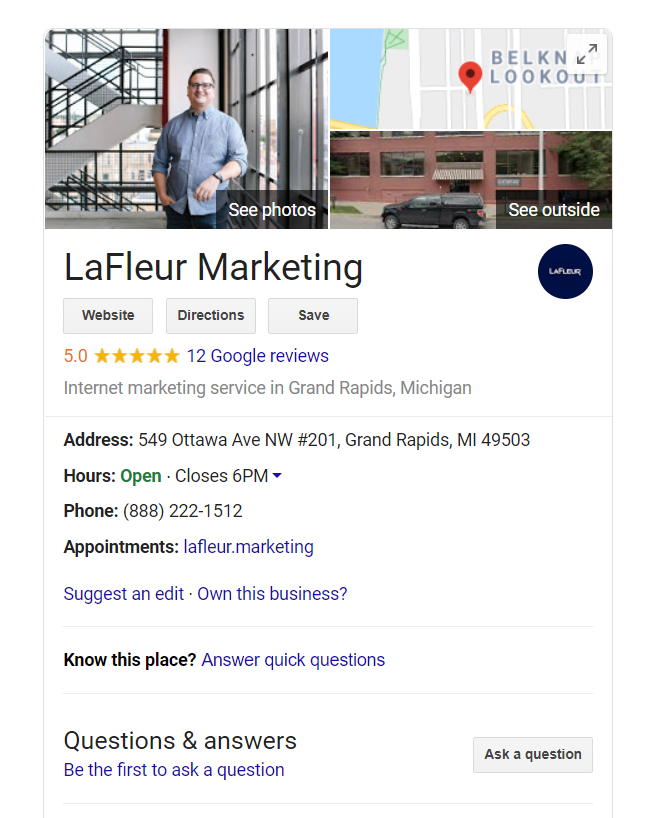 LaFleur is here to help make your business findable on Google. In this 20-minute webinar, Chip LaFleur and Pat Kose will give you the tools you need to understand the importance of a Google listing and how to build one that gets you results. Watch today: https://t.co/8i3GTWTaCo https://t.co/gmsCOurM5l