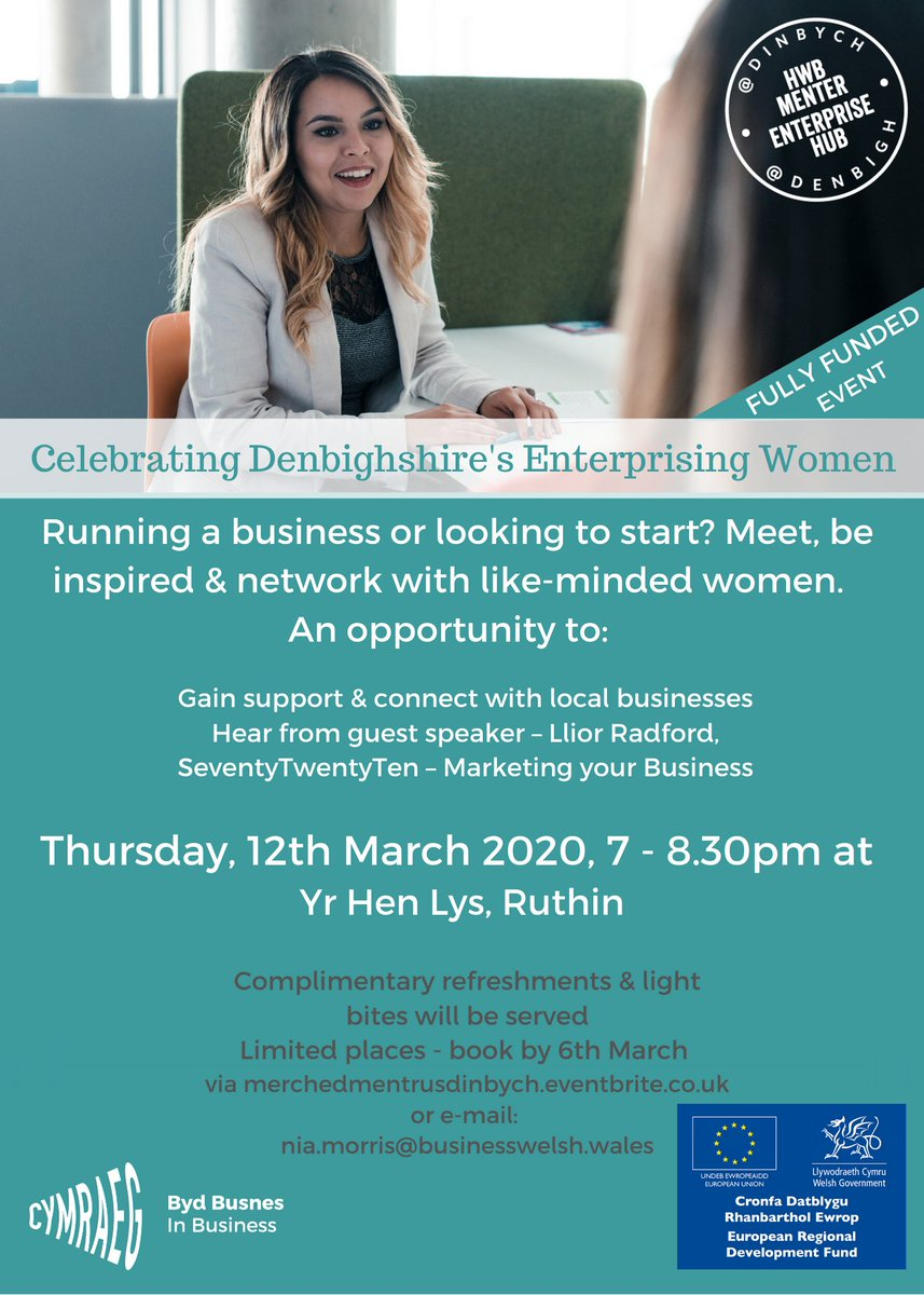 Do you want to network with women in business in the counties of Conwy or Denbighshire? Why not join us and @Welsh4BizNorth at one of the following? Open to all, whether youve been in business for years or just thinking of starting! ~ Sara