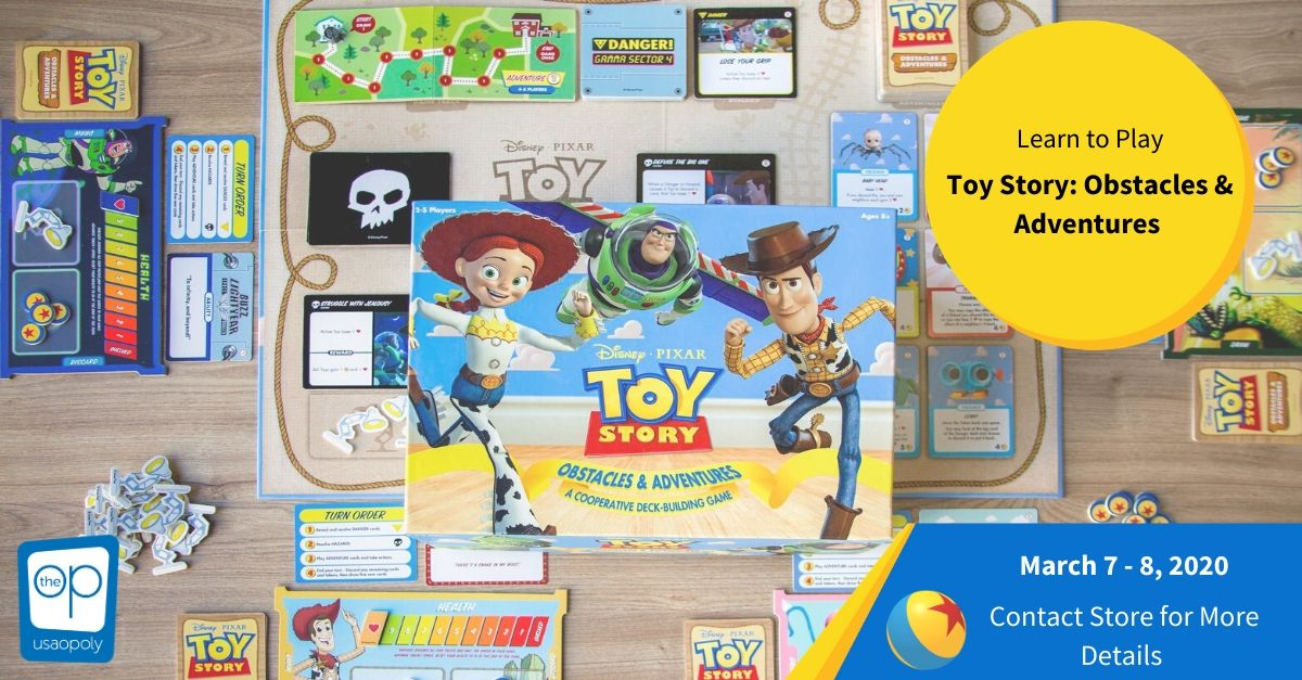 Join me on Sunday, March 8th from 12-5pm at @RedRaccoonGames in Bloomington, IL for a demo of Toy Story Obstacles and Adventures! Come try out this awesome co-op deck builder with your favorite Toy Story friends! @TheOpGames @DexEnvoy https://t.co/rwfGZnUZ1Y