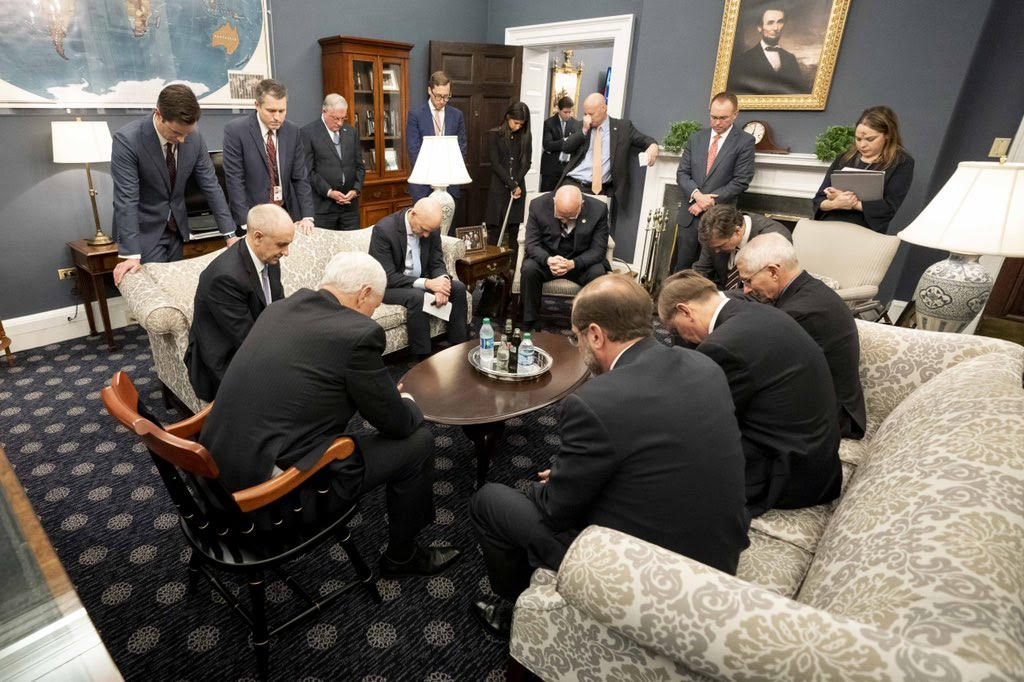 VP Pence Mocked for Opening Coronavirus Task Force Meeting with Prayer, but He's in Good Company