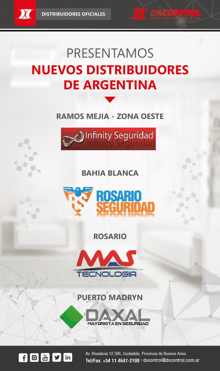 Compartimos con ustedes los nuevos distribuidores oficiales de DX CONTROL.   📍Para más información podes ingresar a nuestro sitio web:  https://t.co/sIkXYC1IhC  #distribuidoresoficiales #dxcontrol #Argentina https://t.co/XXySo0WSCm