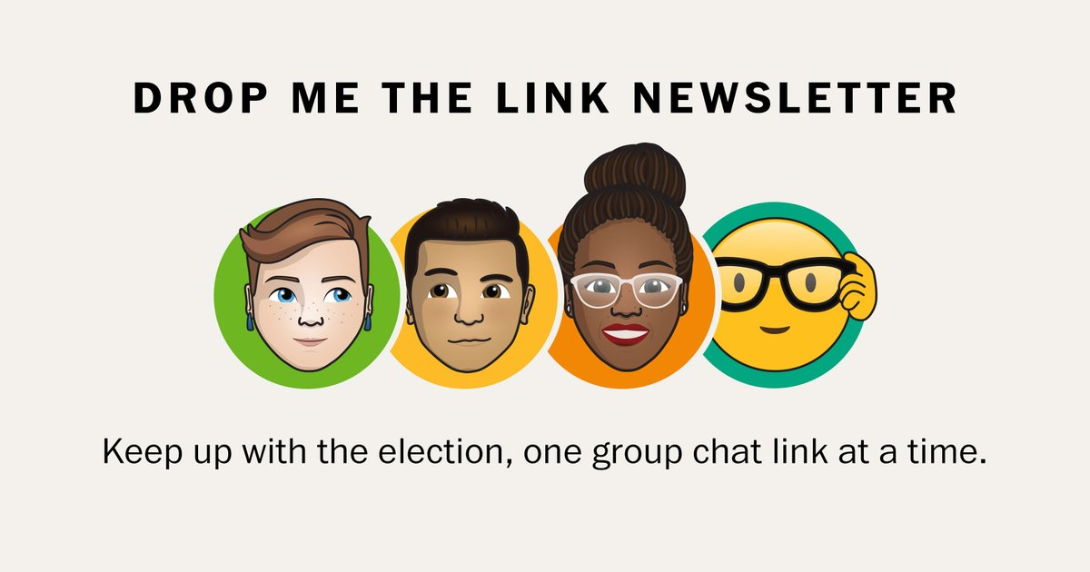This is a newsletter I want to read. Subscribe to Drop Me The Link for a link to a single, meaningful election story curated by three great Post editors, M-W-F: https://t.co/ILYAh9hErH  now where do I get my postmoji cc: @terri_rupar @Krissah30 @ricsanchez https://t.co/CeobfkKdvK